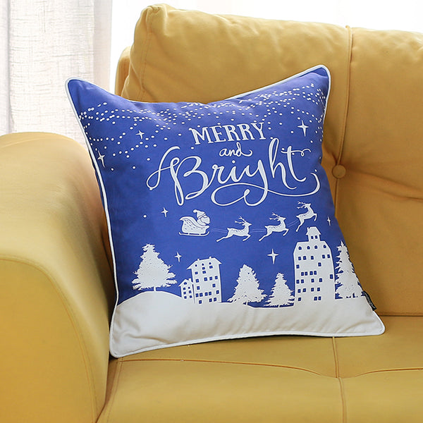 "White Snow Christmas Throw Pillow Cover Christmas Gift 18""x18"""