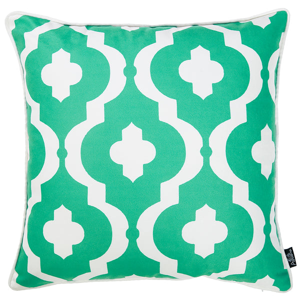 "Marine Turquiose Moroccon Stars Decorative Throw Pillow Cover Printed Home Decor 18""x18"""