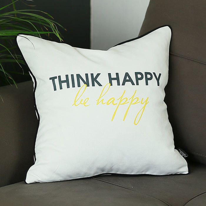 Scandi Think Happy Quote Decorative Throw Pillow Cover 18'' x 18''