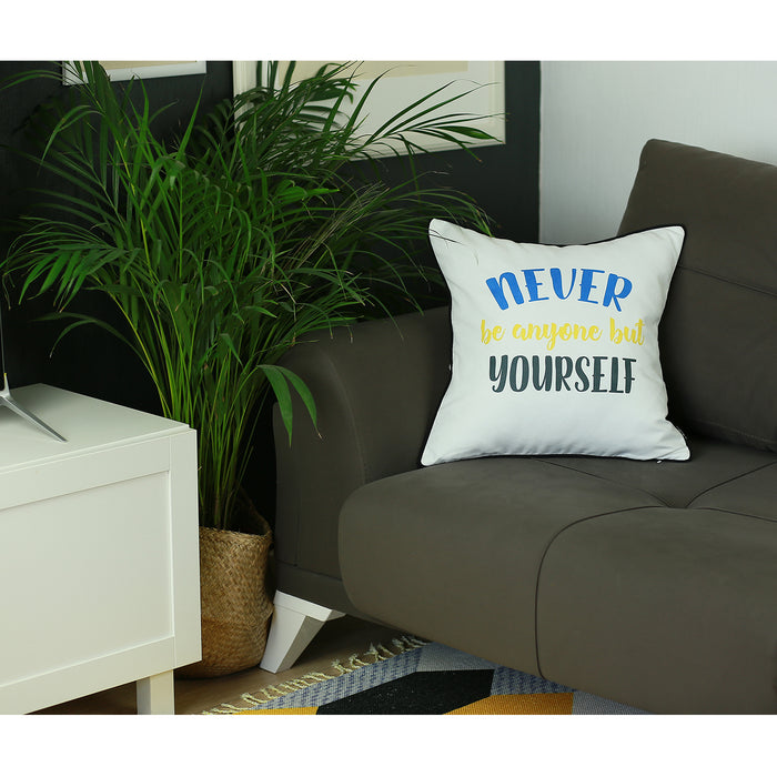 Scandi Square Quotes Printed Decorative Throw Pillow Cover Home Decor 18''x18''