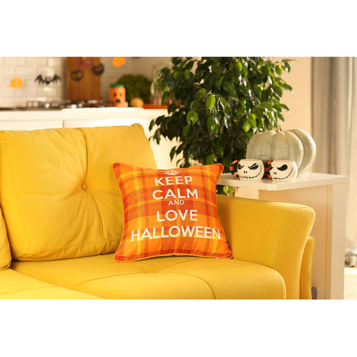 Fall Season Love Halloween Printed  Decorative Throw Pillow Cover 18''x 18''