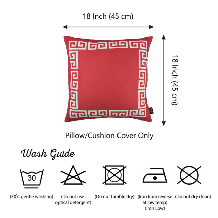 Geometric Greek Key Red and White Decorative Throw Pillow Cover