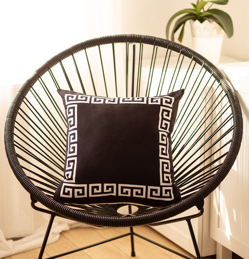 Geometric Greek Key Black and White Decorative Throw Pillow Cover