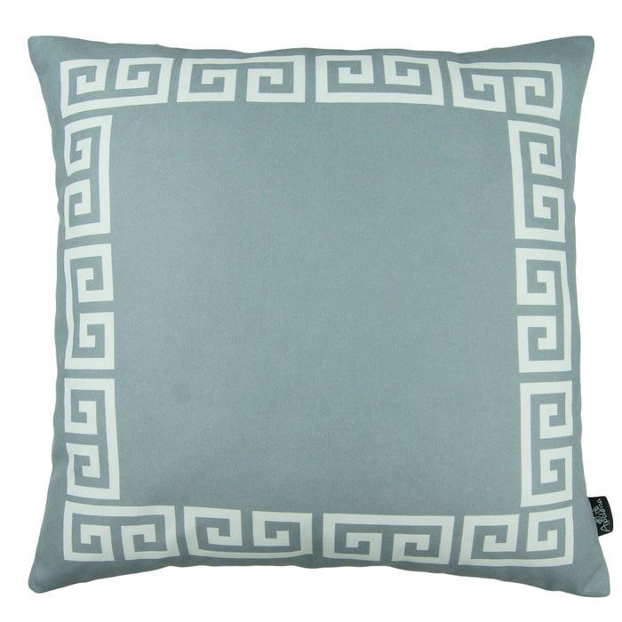 Geometric Greek Key Gray and White Decorative Throw Pillow Cover