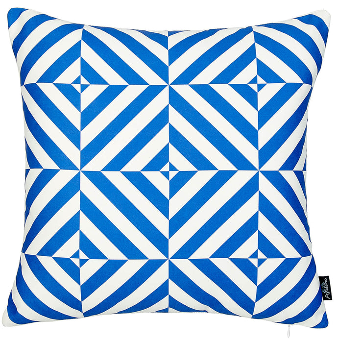 Geometric Blue Diagram Decorative Throw Pillow Cover Printed Home Decor 18''x18''