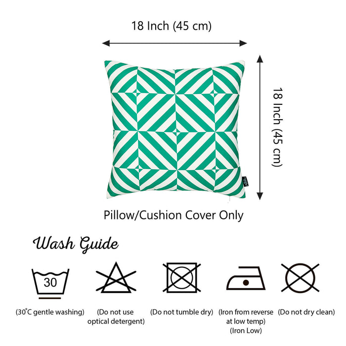 Geometric Green Diagram Decorative Throw Pillow Cover Printed Home Decor 18''x18''
