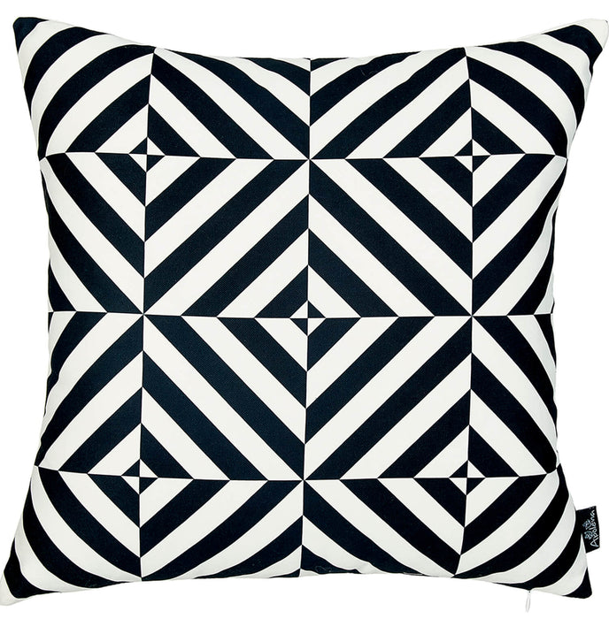 Geometric Black Diagram Decorative Throw Pillow Cover Printed Home Decor 18''x18''