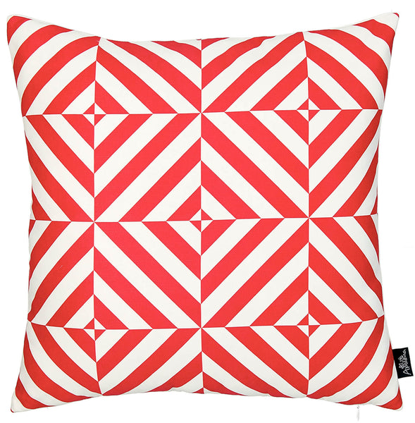 Geometric Red Diagram Decorative Throw Pillow Cover Printed Home Decor 18''x18''