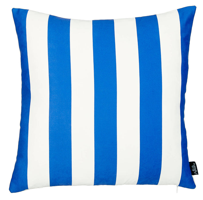 Geometric Blue Stripes Decorative Throw Pillow Cover Printed Home Decor 18''x18''