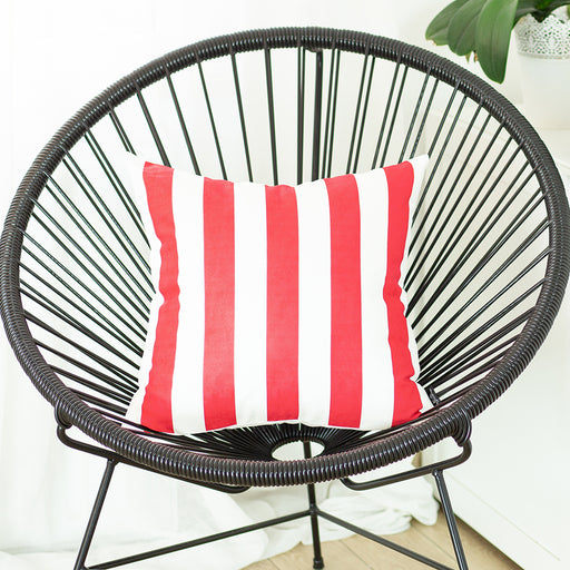 Geometric Red Stripes Decorative Throw Pillow Cover Printed Home Decor 18''x18''