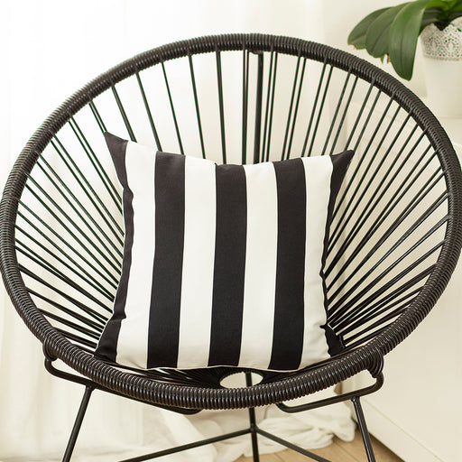 Geometric Black Stripes Decorative Throw Pillow Cover 18''x18''