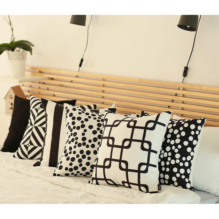 "Geometric Black Stripes Throw Pillow Cover 18""x18"" Set (2 pcs in set)"