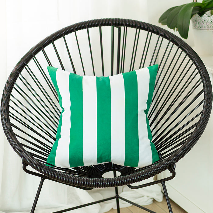 Geometric Green Stripes Decorative Throw Pillow Cover Printed Home Decor 18''x18''