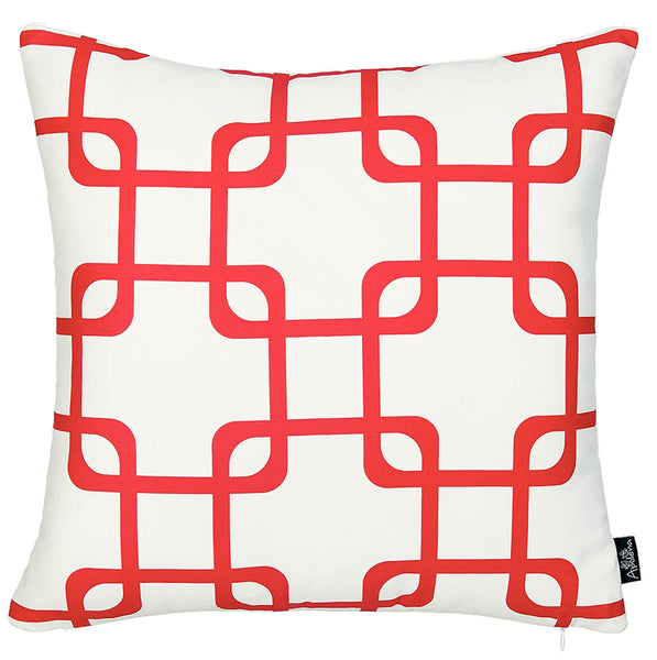 Geometric Red Squares Decorative Throw Pillow Cover Printed Home Decor 18''x18''