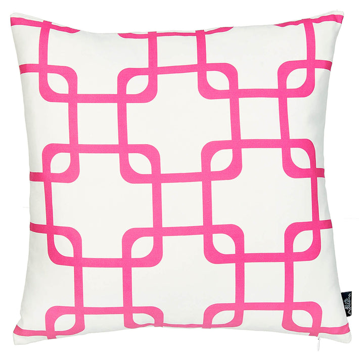 Geometric Pink Squares Decorative Throw Pillow Cover Printed Home Decor 18''x18''