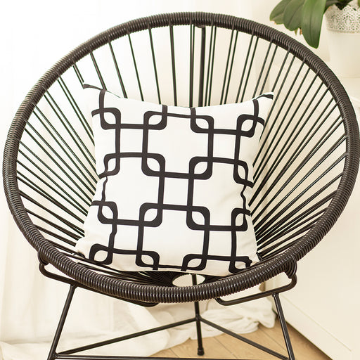 Geometric Black Squares Decorative Throw Pillow Cover Printed Home Decor 18''x18''