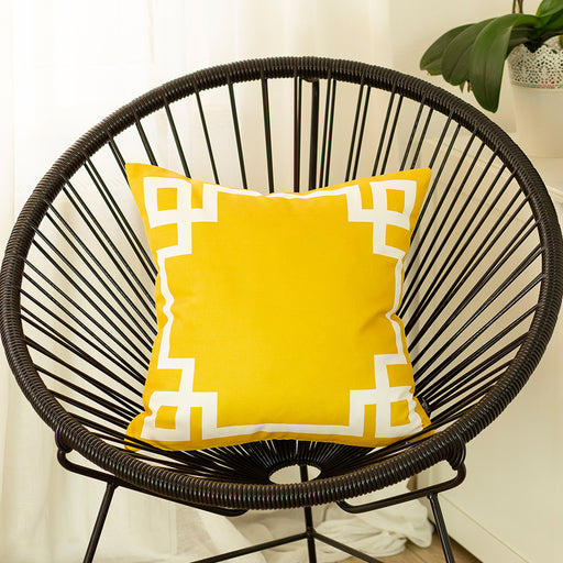 Geometric Yellow and White Printed Decorative Throw Pillow Cover