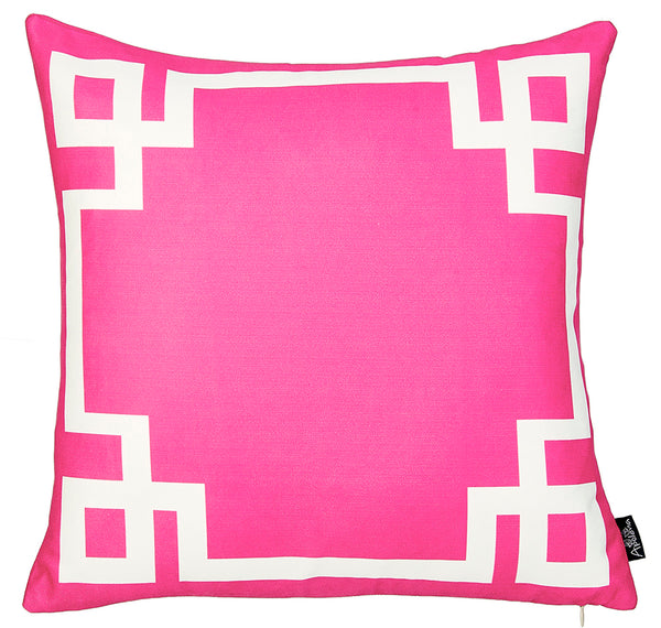 Geometric Pink and White Decorative Throw Pillow Cover Printed Home Decor 18''x18''