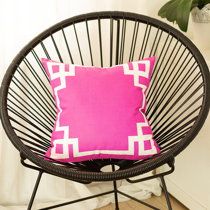 Geometric Pink and White Printed Decorative Throw Pillow Cover