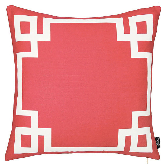Geometric Red and White Printed Decorative Throw Pillow Cover
