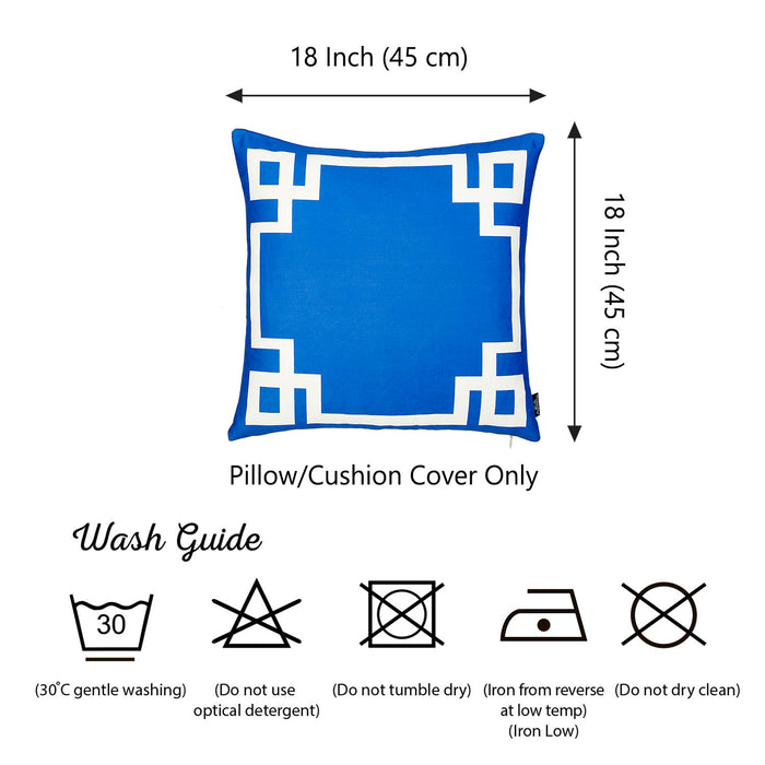 Geometric Blue and White Decorative Throw Pillow Cover Printed Home Decor 18''x18''