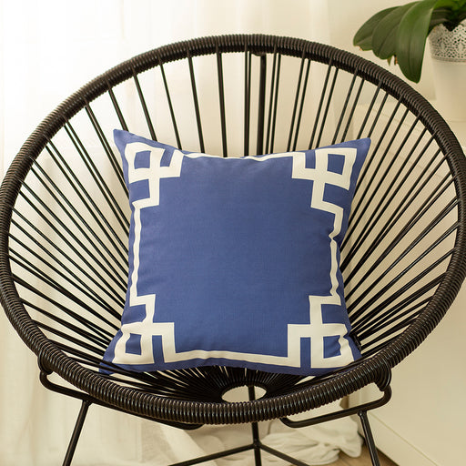 Geometric Blue and White Printed Decorative Throw Pillow Cover