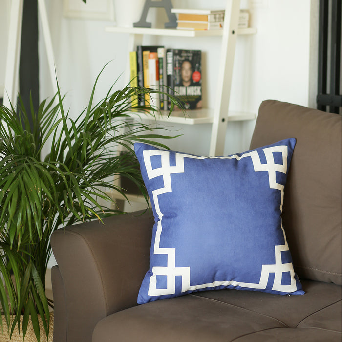Geometric Blue and White Decorative Throw Pillow Cover Printed Home Decor