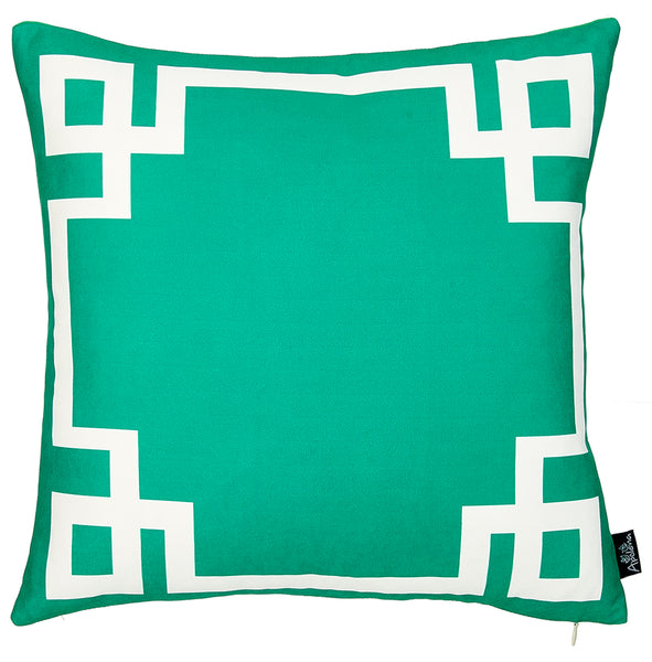 Geometric Green and White Decorative Throw Pillow Cover Printed Home Decor 18''x18''