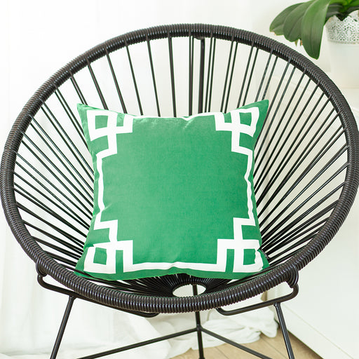 Geometric Green and White Printed Decorative Throw Pillow Cover