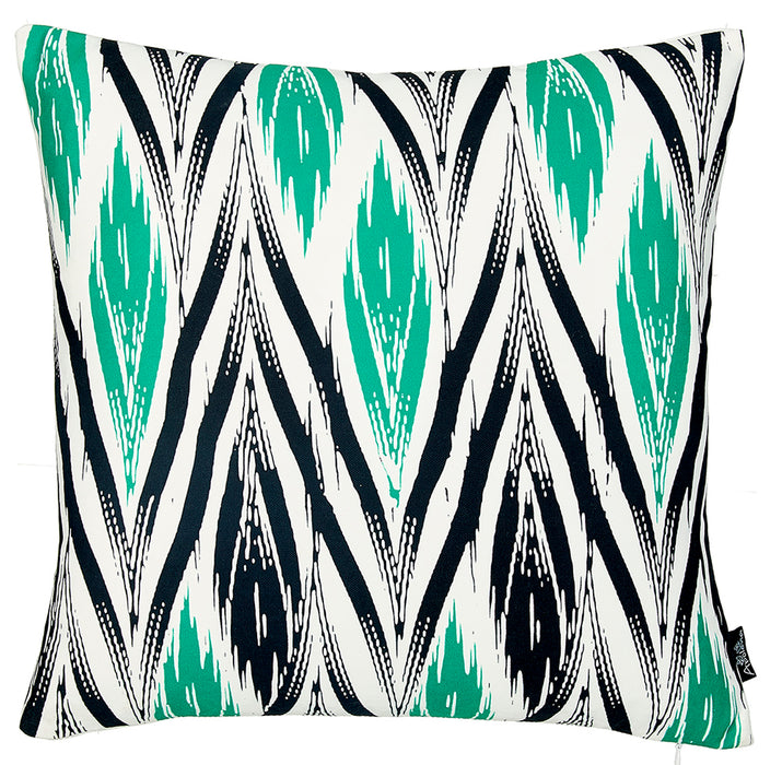 Geometric Green Lit Decorative Throw Pillow Cover Printed Home Decor 18''x18''