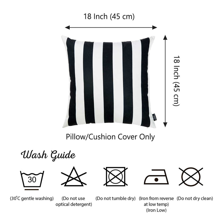 "Black and White Stripe Decorative Throw Pillow Cover Square Home Decor 18""x18"""