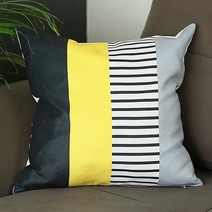 Scandi Yellow Mix Colored Stripes Throw Pillow Cover Set(2 pcs in set)