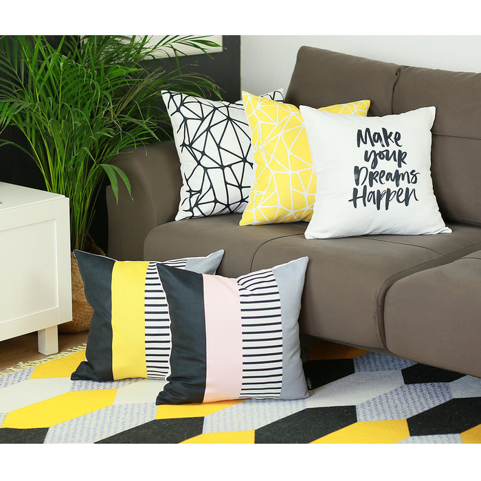 "Scandi Square Yellow Mix Colored Stripes Throw Pillow Cover 18'""x18"""