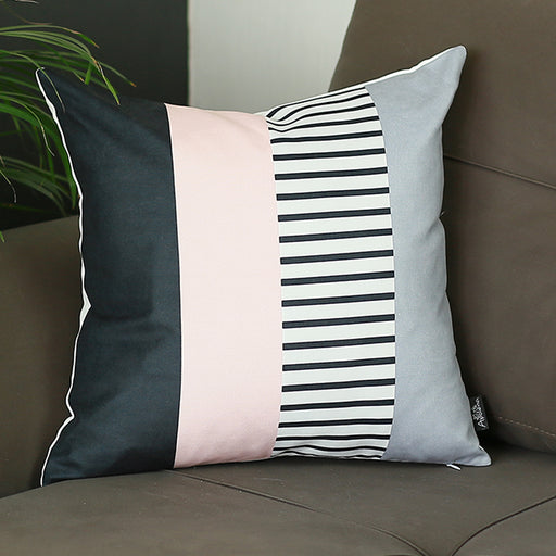 "Scandi Square Pink Mix Colored Stripes Throw Pillow Cover 18'""x18"""