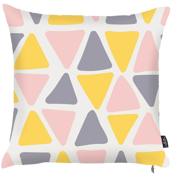 Scandi Square Colored Geo  Printed Decorative Throw Pillow Cover Home Decor Pillowcase 18''x18''