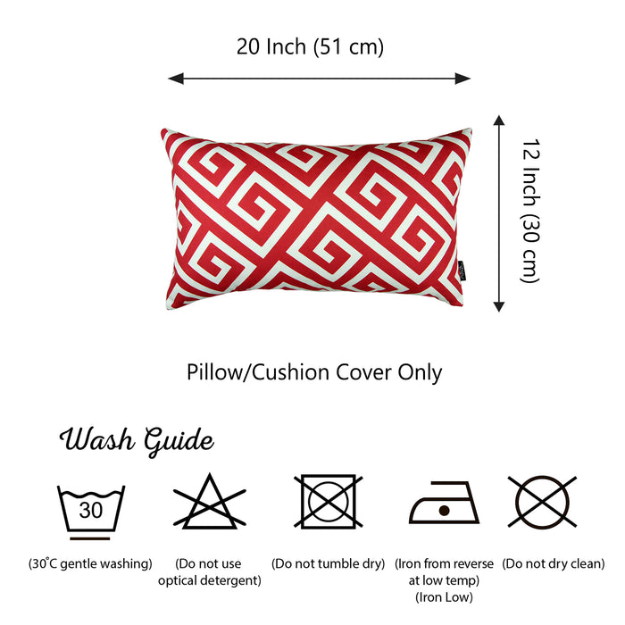 "Greek Key Red and White Decorative Lumbar Throw Pillow Cover 12"" x 20"""