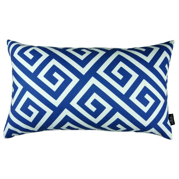 "Greek Key Blue and White Decorative Lumbar Throw Pillow Cover 12""x20"""
