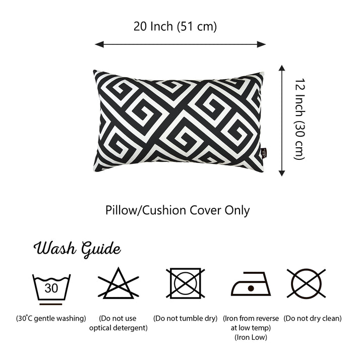 "Greek Key Black and White Decorative Lumbar Throw Pillow Cover 12""x20"""