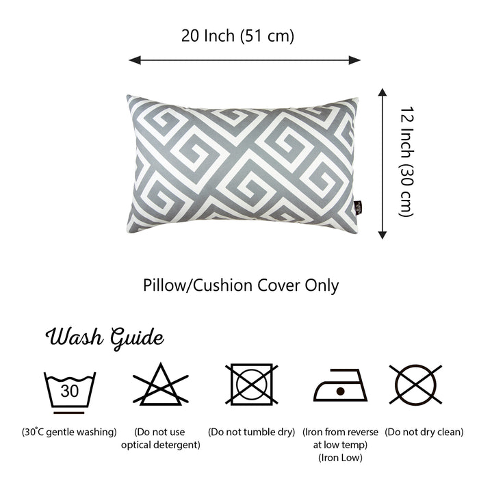 "Greek Key Gray and White Decorative Lumbar Throw Pillow Cover 12""x 20"""