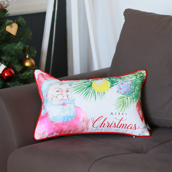 "Christmas Santa Printed Throw Pillow Cover Christmas Gift 12""x20"""