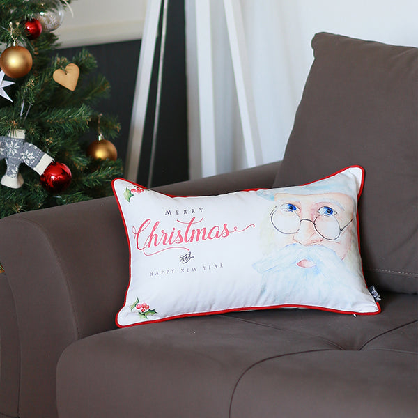 "Merry Christmas Printed Throw Pillow Cover Christmas Gift 12""x20"""