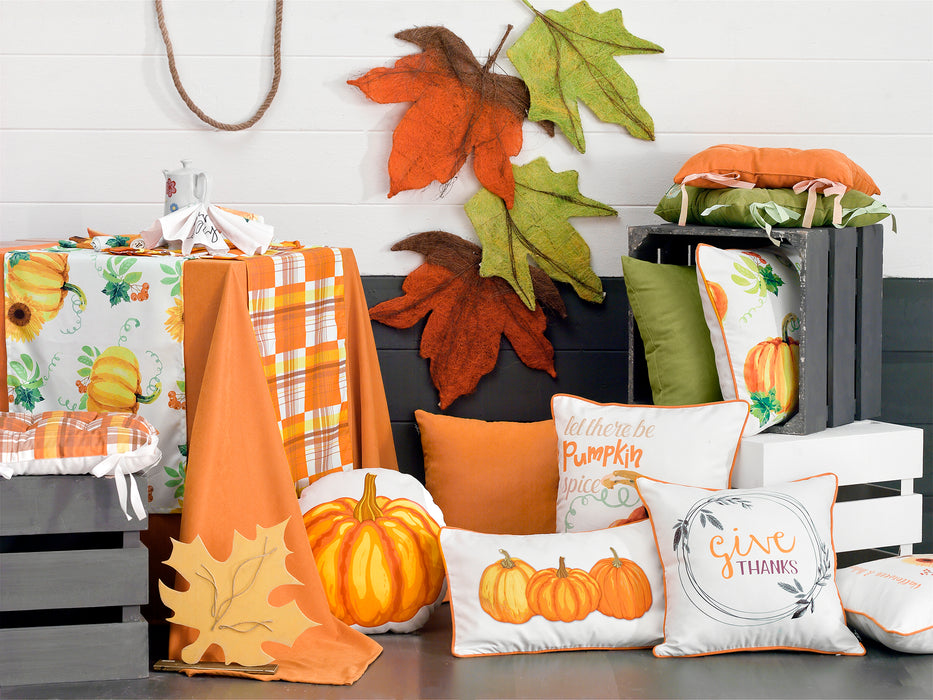 Fall Season Thanksgiving Pumpkin Throw Pillow Cover Set (2 pcs in set)