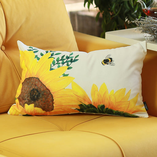 Sunflowers Printed Decorative Lumbar Pillow Cover