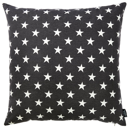 "Easy Care Black White Stars Decorative Throw Pillow Cover 20""x20"""