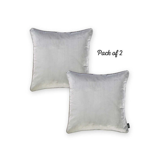 Velvet Grey Decorative Throw Pillow Cover Home Decor 18''x 18'' (2 Pcs in set)