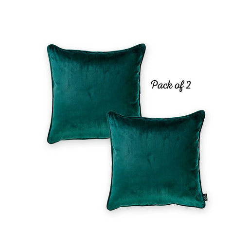 Velvet Dark Emerald Green Decorative Throw Pillow Cover Home Decor 18''x 18'' (2 Pcs in set)