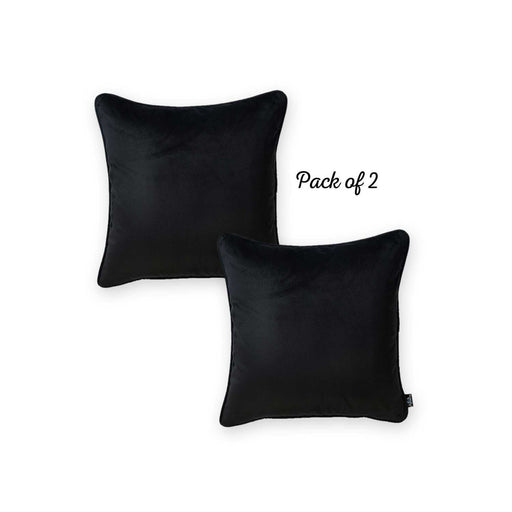 Velvet Black Decorative Throw Pillow Cover Home Decor 18''x 18'' (2 Pcs in set)