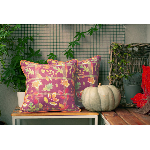 Fall Season Thanksgiving Leaf Square Printed  Decorative Throw Pillow Cover 18''x 18'' (2 pcs in set)