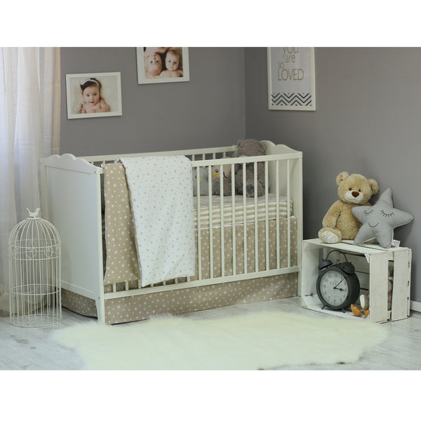 3 Piece Crib Bedding Set, Brown