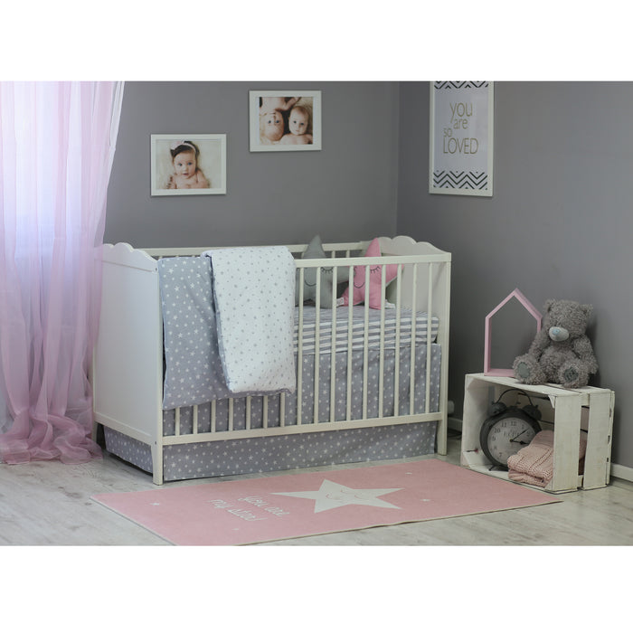 3 Piece Crib Bedding Set, Gray
